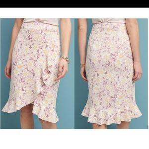 NWT Anthropologie Skirt Floral Peach Ruffle 10